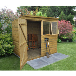 Forest Forest Garden Tongue and Groove Pressure Treated Pent Shed 7 x 5ft - 43348 - from Toolstation