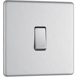 BG BG Screwless Flat Plate Brushed Stainless Steel 10AX Light Switch 1 Gang Intermediate - 43429 - from Toolstation