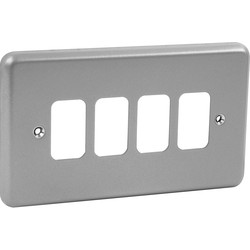 MK MK Grid Plus Metal Front Plate 4 Gang - 43555 - from Toolstation
