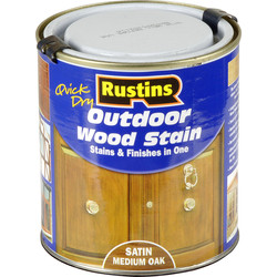 Rustins Quick Dry Outdoor Wood Stain Medium Oak 500ml