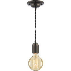 Inlight Vintage Pendant Cable Set Black 40W Max ES (E27) - 44167 - from Toolstation