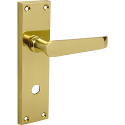 Victorian Straight Door Handles Bathroom Brass - 44411 - from Toolstation