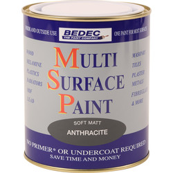 Bedec Bedec Multi Surface Paint Matt Anthracite 750ml - 44522 - from Toolstation