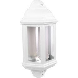 LED PIR IP44 Half Lantern 7W White 540lm - 44659 - from Toolstation
