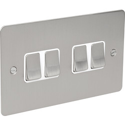 Flat Plate Satin Chrome 10A Switch 4 Gang 2 Way - 44754 - from Toolstation