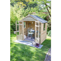 Forest Forest Garden Overlap Pressure Treated Oakley Summerhouse 222cm (h) x 219cm (w) x 146cm (d) - 44828 - from Toolstation