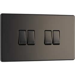 BG BG Screwless Flat Plate Black Nickel 10AX Light Switch 4 Gang 2 Way - 45016 - from Toolstation