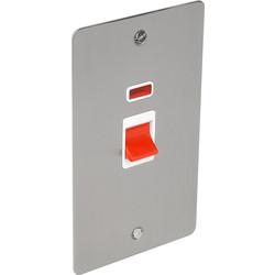 Flat Plate Satin Chrome 45A DP Switch Tall + Neon - 45126 - from Toolstation