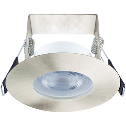 Integral LED Integral LED 3.8W Evofire+ IP65 Integrated Fire Rated Dimmable Downlight Satin Nickel 390lm Warm White - 45277 - from Toolstation