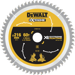 DeWalt DeWalt XR Flexvolt Mitre Saw Blade 216mm x 30mm x 60T - 45294 - from Toolstation