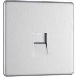 Screwless Flat Plate Brushed Stainless Steel Telephone Socket