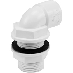 Solvent Weld Overflow Tank Connector 21.5mm Bent White