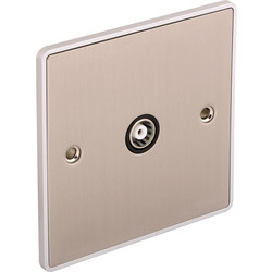 Urban Edge Urban Edge Brushed Chrome TV/ Satellite Socket 1 Gang - 45740 - from Toolstation