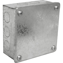 "Metal Box with Knock Outs 4 x 4 x 3"" - 45922 - from Toolstation"