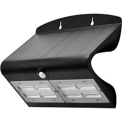 Luceco Luceco SOLAR Guardian 6.8W PIR Wall Floodlight IP44 Black 750lm - 46089 - from Toolstation