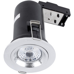 Meridian Lighting LED 9W Fire Rated Dimmable GU10 Downlight Chrome 650lm - 46163 - from Toolstation