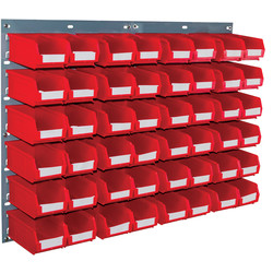 Barton Barton Steel Louvre Panel with Red Bins 641 x 457mm with TC2 Red Bins - 46172 - from Toolstation
