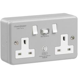 Power Breaker RCD Switched Socket Metalclad 2 Gang 13A 30mA - 46202 - from Toolstation