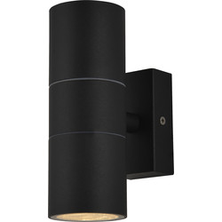 IP44 Up & Down Black Wall Light 2 x GU10 35W Or LED