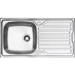 Maine Stainless Steel Single Bowl Kitchen Sink & Drainer 965 x 500 x 165mm Deep - 46331 - from Toolstation