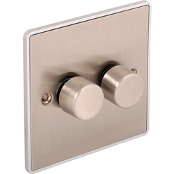 Urban Edge Urban Edge Brushed Chrome Dimmer Switch 2 Gang 400W - 46357 - from Toolstation