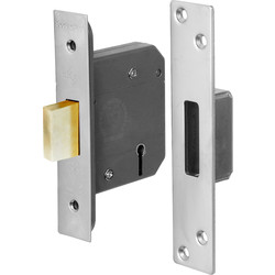 BS 5 Lever Mortice Deadlock 64mm Satin Chrome - 46453 - from Toolstation