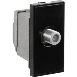 Euro Module TV/SAT Outlet F Connector Black - 46481 - from Toolstation