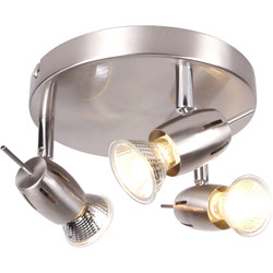 Inlight Pluto Satin Nickel GU10 3 Plate Spotlight  - 46590 - from Toolstation