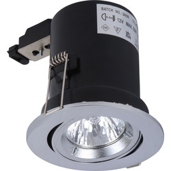 Meridian Lighting Fire Rated Cast Adjustable Downlight MR16 Satin Chrome - 46637 - from Toolstation