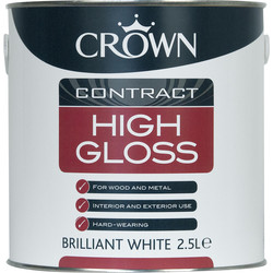 Crown Contract Crown Contract High Gloss Paint Brilliant White 2.5L - 46768 - from Toolstation