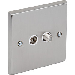 Satin Chrome / White TV / Satellite Socket Outlet Satellite, TV - 47250 - from Toolstation