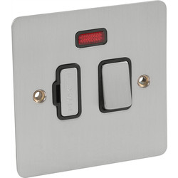 Axiom Flat Plate Satin Chrome Fused Spur 13A Switched + Neon - 47410 - from Toolstation