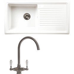Reginox Reginox Single Bowl Ceramic Kitchen Sink & Drainer White With Brushed Nickel Tap - 47554 - from Toolstation