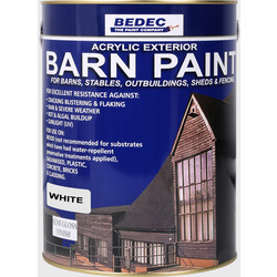 Bedec Bedec Barn Paint Semi Gloss White 5L - 47671 - from Toolstation