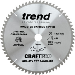 Craft Trend Craft Circular Saw Blade 305 x 64T x 30mm CSB/CC30564 - 47703 - from Toolstation