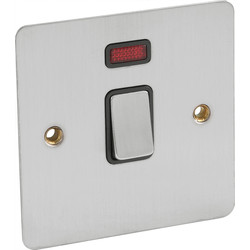 Flat Plate Satin Chrome DP Switch 20A Neon - 47886 - from Toolstation