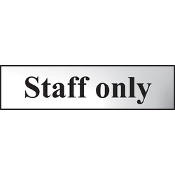 Centurion Chrome Effect Door Sign Staff Only - 48040 - from Toolstation