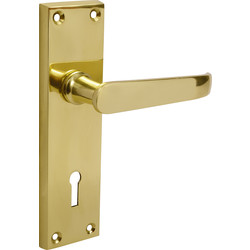 Victorian Straight Door Handles Lock Brass - 48220 - from Toolstation