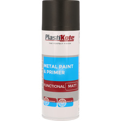 Plastikote Plastikote Metal Paint & Primer Spray Paint 400ml Black Matt - 48232 - from Toolstation
