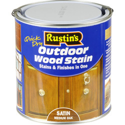 Rustins Rustins Quick Dry Outdoor Wood Stain Medium Oak 1L - 48234 - from Toolstation