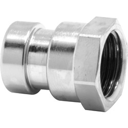 "Pegler Yorkshire Pegler Yorkshire Tectite Sprint Chrome Push-Fit Straight Female Connector 15mm x 1/2"" - 48277 - from Toolstation"