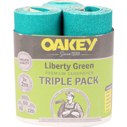 Oakey Oakey Sanding Rolls Triple Pack 60, 80, 120g - 48386 - from Toolstation