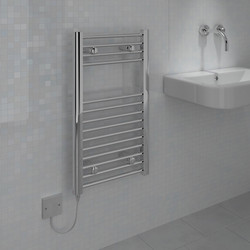 Kudox Electric Pre-Filled Chrome Flat Towel Radiator