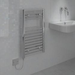 Kudox Electric Pre-Filled Chrome Flat Towel Radiator