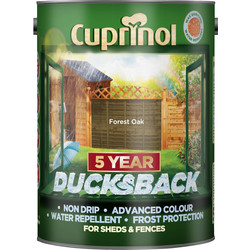 Cuprinol Cuprinol Ducksback Shed & Fence Treatment 5L Forest Oak - 48919 - from Toolstation