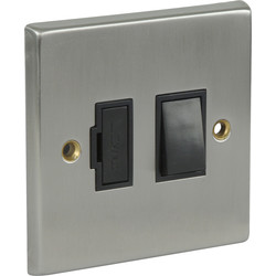 Satin Chrome / Black Switched Spur 13A Switched Neon - 48973 - from Toolstation