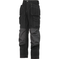 "Snickers Workwear Snickers 3223 Rip-Stop Floorlayer Holster Pocket Trousers 33"" R Black/Grey - 48977 - from Toolstation"