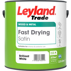 Leyland Trade Leyland Trade Fast Drying Water Based Satin Paint Brilliant White 2.5L - 49182 - from Toolstation