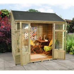 Forest Forest Garden Shiplap Treated Reverse Apex Kempsford Summerhouse 237cm (h) x 242cm (w) x 203cm (d) - 49327 - from Toolstation