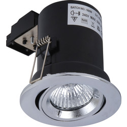 Meridian Lighting Fire Rated Cast Adjustable GU10 Downlight Satin Chrome - 49717 - from Toolstation